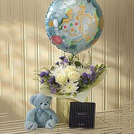 Blue Lullaby Balloon Teddy and Chocolates Gift Set: