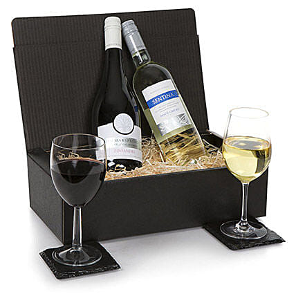 French Two Bottle Wine Selection: Gift Baskets to UK