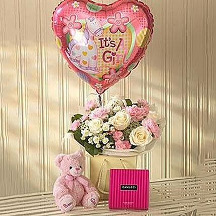 Pink Lullaby Balloon Teddy and Chocolates Gift Set: Newborn Baby Gifts to UK