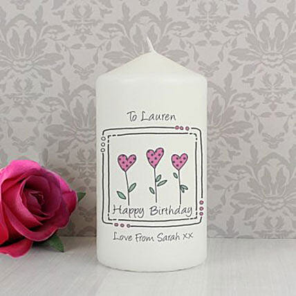 Personalized 3 Hearts Message Candle: Birthday Gifts For Wife in UK