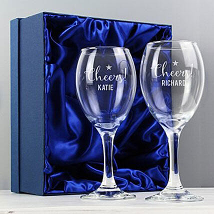 Personalized Cheers Wine Glass Set Of 2: Gifts Offers - Uk