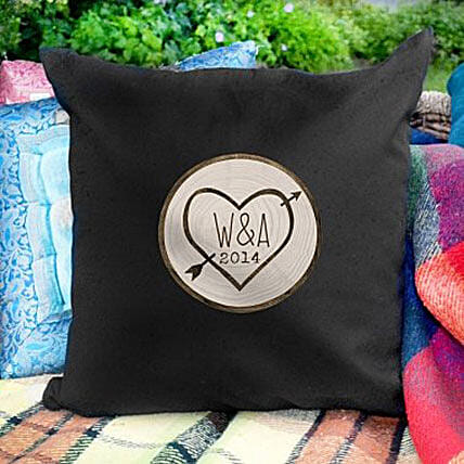 Personalized Lovestruck Black Cushion Cover: