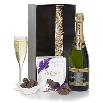 Champagne And Truffles Gift Set: Send Wine Baskets to UK