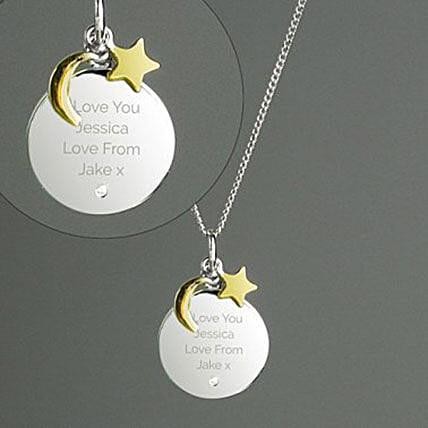 Personalised Moon And Stars Sterling Silver Necklace: Send Promise Day Gifts to UK