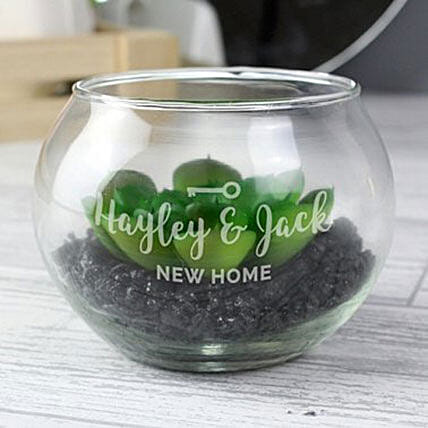 Personalised New Home Glass Terrarium: Gifts to Edinburgh