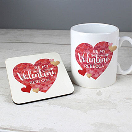 Personalised Valentines Day Confetti Hearts Mug And Coaster Set: Send Valentines Day Gifts to UK