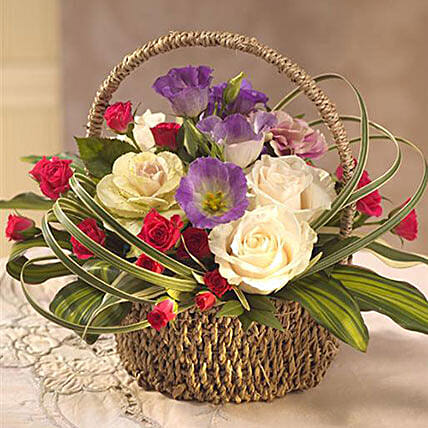Colorful Flower Basket: Send Gifts to Cambridge