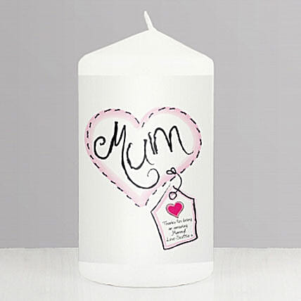 Personalised Heart Stitch Mum Candle: Send Personalised Candles to UK
