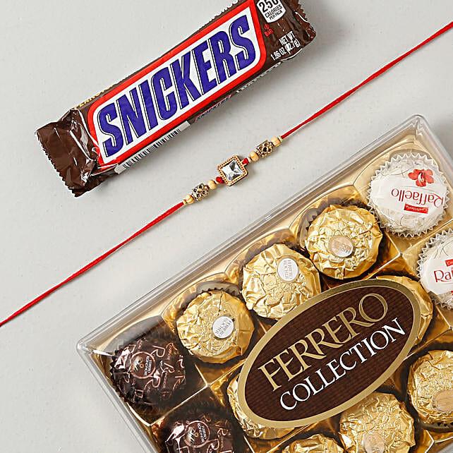 American Diamond Rakhi Chocolates Hamper: Rakhi With Chocolates UK