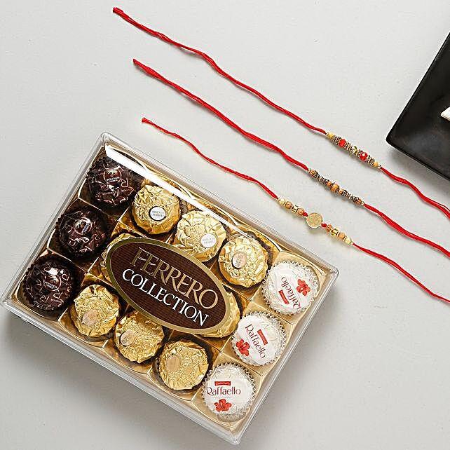 Elegant Rakhi Set with Ferrero Rocher Chocolate: