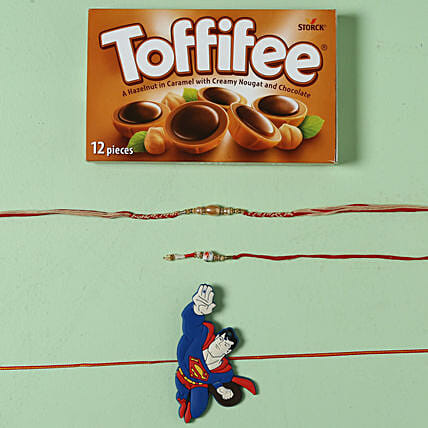 Family Rakhi Set Hamper with Toffiee Chocolates: Family Rakhi Set to UK