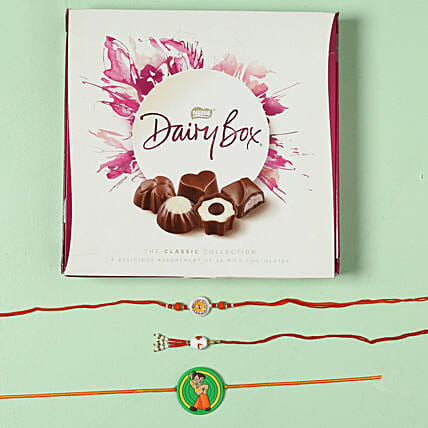 Family Rakhi Set with Milk Chocolate Box: Rakhi to Newcastle