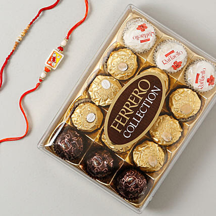 Ferrero Rocher Collcetion Rakhi Hamper: Set of 2 Rakhi to UK