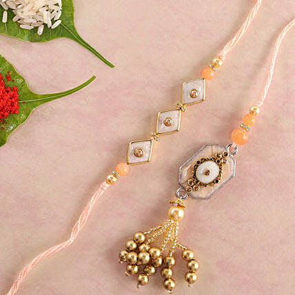 Stunning Lumba Rakhi Set: Send Rakhi to Manchester UK