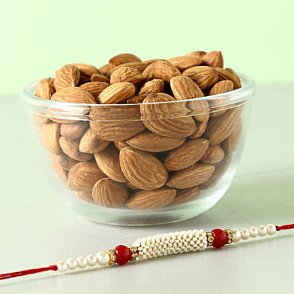 Almonds With Red And White Rakhi Combo: Rakhi With Dryfruits to UK