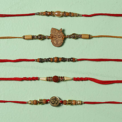 Elegant Designer Family Rakhi Set: Set of 5 Rakhi to UK