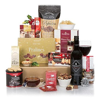 Red Wine N Christmas Crackers Hamper: