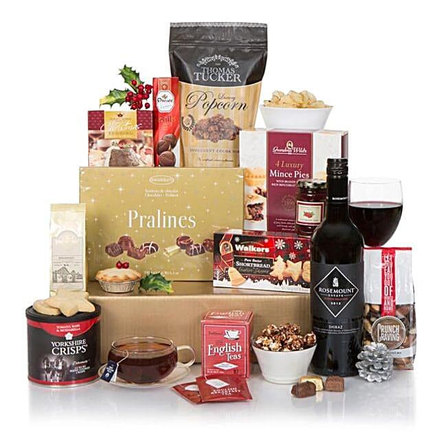 Red Wine N Christmas Crackers Hamper: Send Wine Baskets to UK