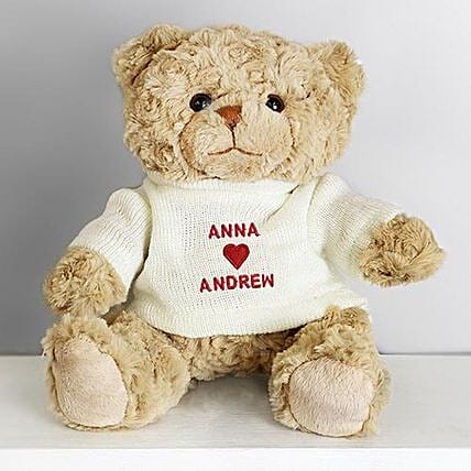Personalised Love Heart Jumper Message Bear: Valentine's Day Gift Delivery in UK