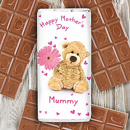 Personalised Teddy Flower Milk Chocolate Bar: Send Mothers Day Gifts to UK