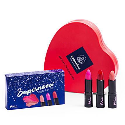 Lipstick Trio With Chocolates: Anniversay Cosmetics and Spa Hampers in UK