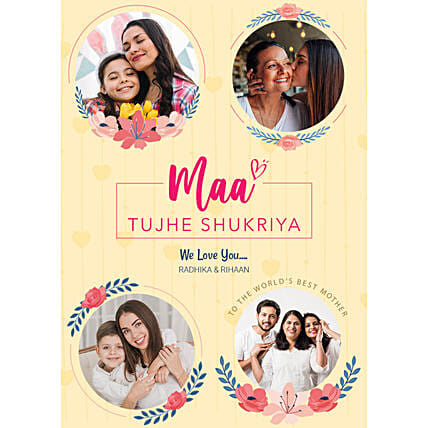 Personalised Maa Tujhe Shukriya Digital Collage: Send Mothers Day Gifts to UK