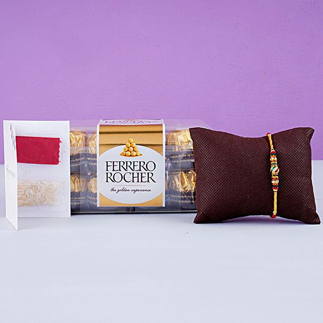 Beautiful Meena Thread Rakhi And 16 Pcs Ferrero Rocher: Send Rakhi to UK