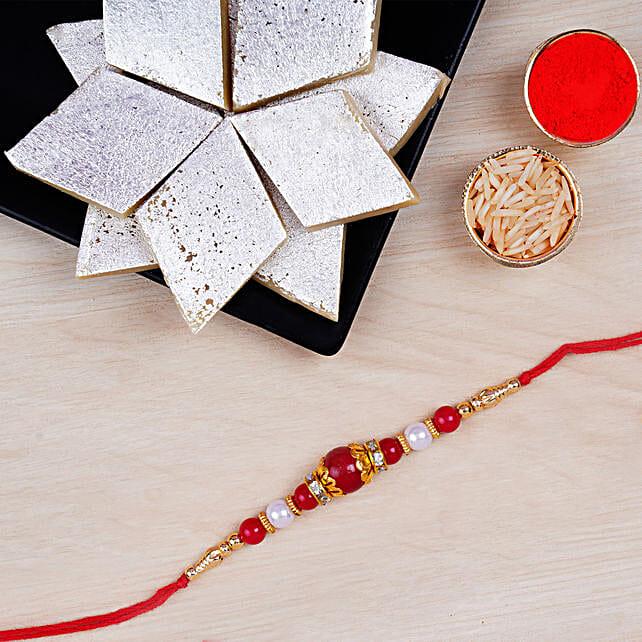 Elegant Pearl Thread Rakhi And Kaju Katli: Rakhi Delivery in London, UK
