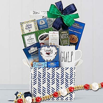 Coffee Tea and Cocoa Gift Basket With Rakhi: Pearl Rakhi Delivery in USA