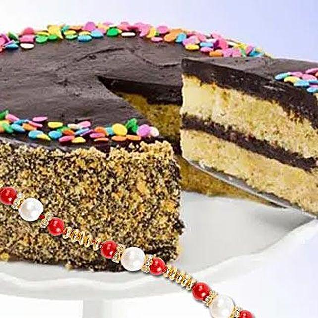 Golden Fudge Celebration Cake With Rakhi: Rakhi - Guaranteed Delivery Collection