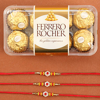 Set Of Traditional Rakhis With Rocher: Set of 3 Rakhis to USA