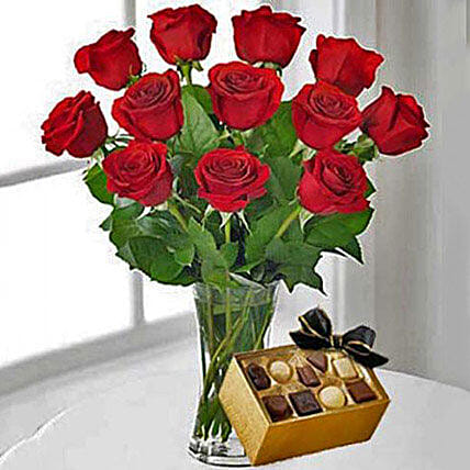 12 Red Roses With Chocolates: Valentines Day Gifts For Him in USA