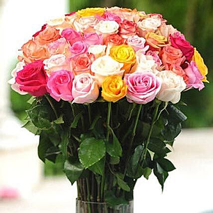 36 Multicolor roses in Vase: Flower Delivery in San Diego