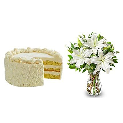 All White: Cake and Flowers Delivery in San Francisco