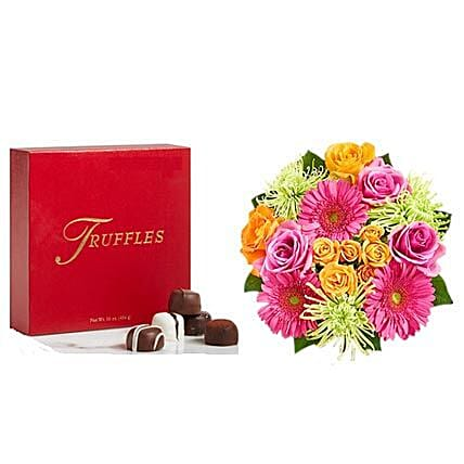 Colorful Bloom with Chocolates: