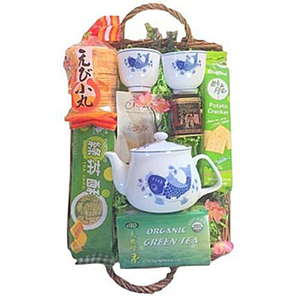 Green Tea Basket: Send Chinese New Year Gifts to USA