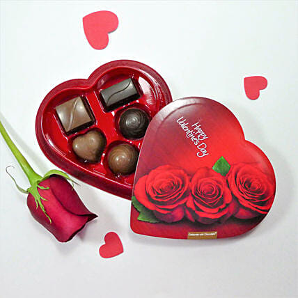 Heart Shaped Box Of Chocolates With Rose: