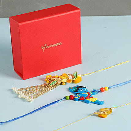 Glittering Rakhis Set Of 3: Send Rakhi to Irving