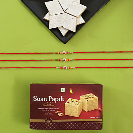 Alluring Rakhi Set And Sweet Boxes: Rakhi to California