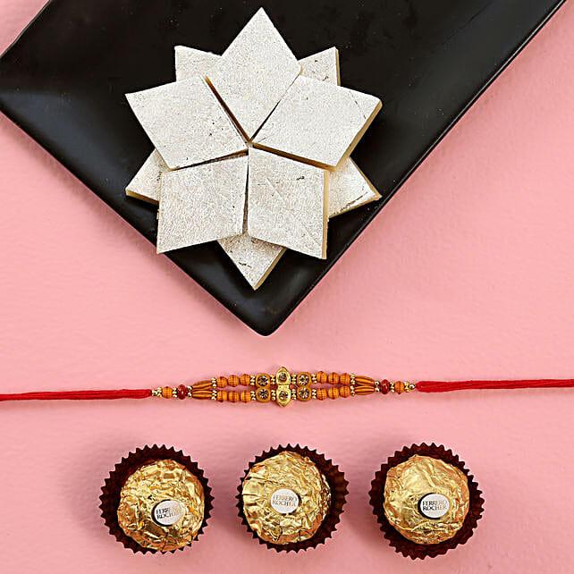 Delightful Rakhi Celebrations Combo: Rakhi With Sweets to USA