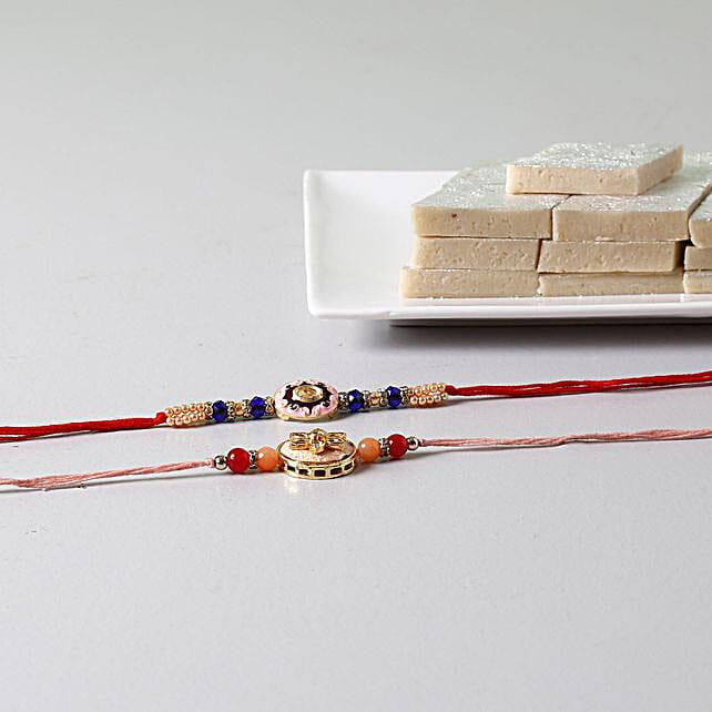 Beads Embellished Rakhis With Kaju Katli: Set of 2 Rakhi to USA