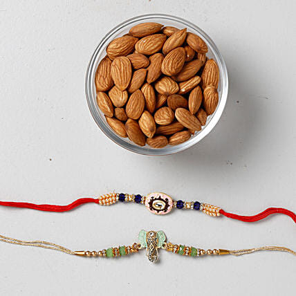 Crunchy Almonds With Colorful Rakhis: Rakhi with Dryfruits to USA