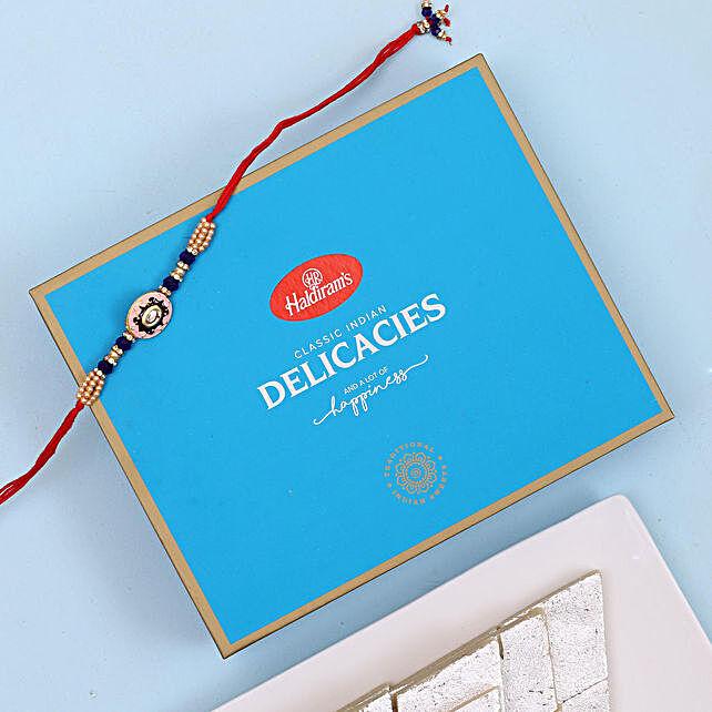 Designer Rakhi And Kaju Katli Combo: Rakhi With Sweets to USA