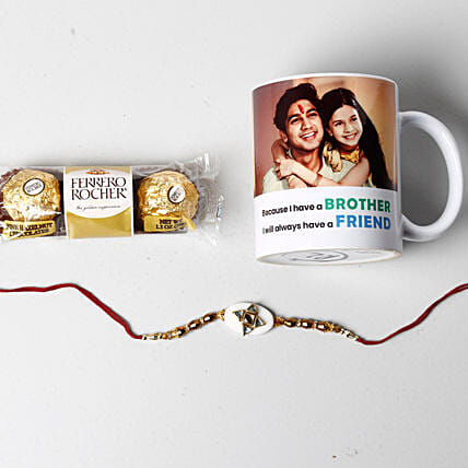 Designer Rakhi And Personalized Photo Mug: Rakhi With Personalised Gifts to USA