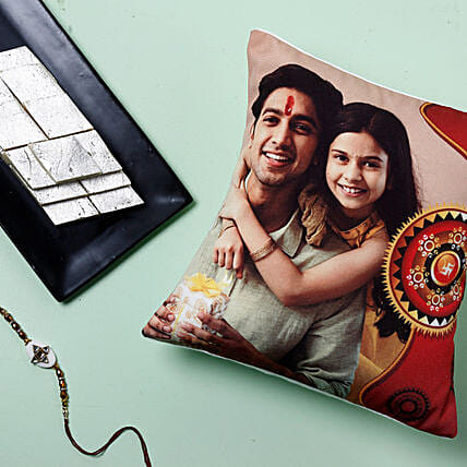 Rakhi With Cushion And Kaju Katli: