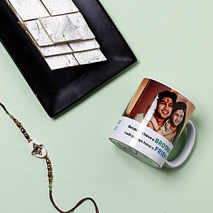 Rakhi With Mug And Kaju Katli: Rakhi With Personalised Gifts to USA