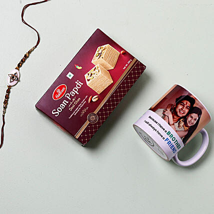 Rakhi With Mug And Soan Papdi: