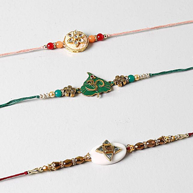 Spiritual And Designer Rakhi Set of 3: