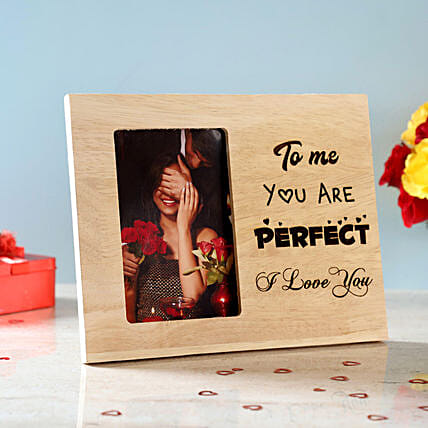You Are Perfect Engraved Wooden Photo Frame: Gifts for Her in USA