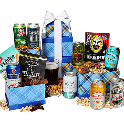 Beer And Snack Tower: Send Diwali Dry Fruits To USA